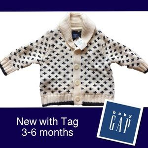 🆕BABY GAP 3-6 mos Shawl Neck Cardigan navy ivory